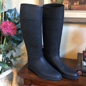 Authentic GUCCI GG Shimmer Rain Boots Black  39